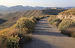 Quiet lane in mountains, Torre Vigia de los Lobos, Rodalquilar, Cabo de Gata natural park, Almeria, Spain