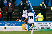 Bedsente Gomis scores and celebrates Barrows 1s t goal during Barrow vs Leyton Orient, Vanarama National League Football at the Furness Building Society Stadium on 7th October 2017