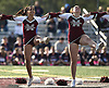 The Mepham Pirettes perform during halftime of the varsity football team's Nassau County Conference II game against MacArthur at Mepham High School on Saturday, Oct. 20, 2018.