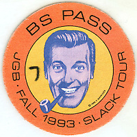 "Backstage Pass to a Jerry Garcia Concert Show along the Fall 1993 ""Slack Tour"". This is a scan of original artwork by P. Mavrides, who owns the Copyright, 1989, of the image depicted. I believe the number 7 marked on this pass refers to the Date November 7, 1993. Though I don't have any record of photography from that exact date I did shoot the 8th in Hartford and the 11th in Providence. This may have been a left over pass from the night before Hartford (8th) which I was given by Robbie Taylor who I think was road manager this tour or Dennis McNally. See the pipe man here too: http://en.wikipedia.org/wiki/Church_of_the_SubGenius"