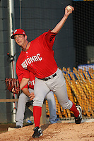 Potomac Nationals pitcher Evan Bronson #34 warming up in the bullpen before a game vs. the Myrtle Beach Pelicans at BB&T Coastal Field in Myrtle Beach, SC, on June 16, 2010. The Nationals defeated the Pelicans 13-4. Photo By Robert Gurganus/Four Seam Images