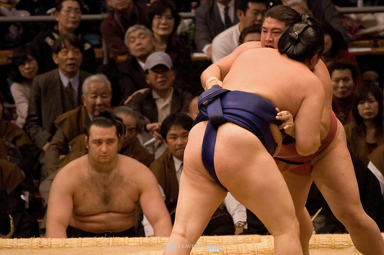 Bulgarian sumo wrestler Koto-Oshu watches two other wrestlers in their bout.