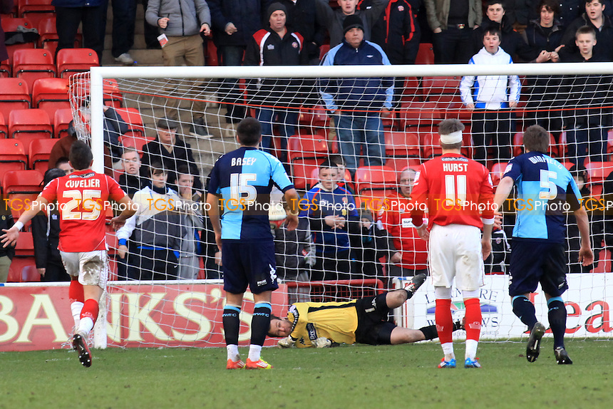 Wycombe goalkeeper, Nikki Bull saves a 2nd half Walsall penalty - Walsall vs Wycombe Wanderers - nPower League One Football at the Banks's Stadium, Walsall - 18/02/12 - MANDATORY CREDIT: Paul Dennis/TGSPHOTO - Self billing applies where appropriate - 0845 094 6026 - contact@tgsphoto.co.uk - NO UNPAID USE.