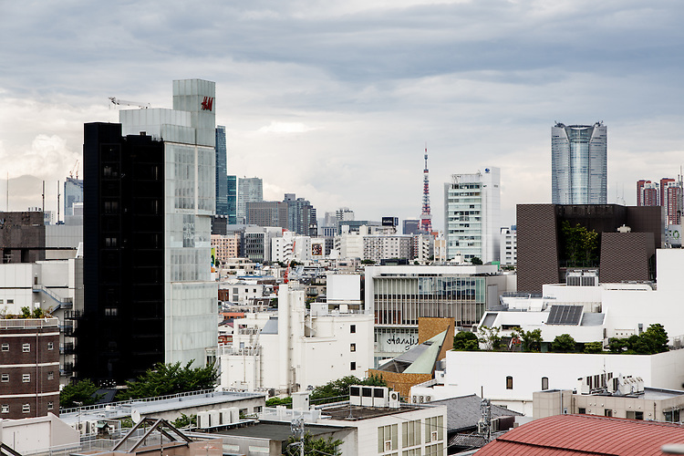 Tokyo, June 22 2013 - Harajuku and Jingumae neighborhood, with the Tokyo Tower and Roppongi Hills in the background