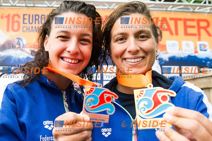 BRUNI Rachele ITA gold medal European Champion and BRIDI Arianna ITA bronze medal<br /> Hoorn, Netherlands <br /> LEN 2016 European Open Water Swimming Championships <br /> Open Water Swimming<br /> Women's 10km<br /> Day 01 10-07-2016<br /> Photo Giorgio Perottino/Deepbluemedia/Insidefoto