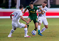 13th July 2020, Orlando, Florida, USA;  Portland Timbers midfielder Diego Valeri (8) is fouled during the MLS Is Back Tournament between the LA Galaxy versus Portland Timbers on July 13, 2020 at the ESPN Wide World of Sports, Orlando FL.