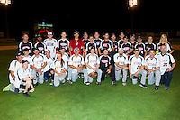 Team NASCAR and Team NHRA pose for a group photo following the NASCAR vs NHRA Charity Softball Challenge at CMC-Northeast Stadium on April 17, 2013 in Kannapolis, North Carolina.  Team NHRA defeated Team NASCAR 19-5.  (Brian Westerholt/Four Seam Images)