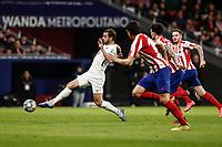 8th February 2020; Wanda Metropolitano Stadium, Madrid, Spain; La Liga Football, Atletico de Madrid versus Granada; Roberto Soldado (Granada CF)  stretches to control the ball before a shot