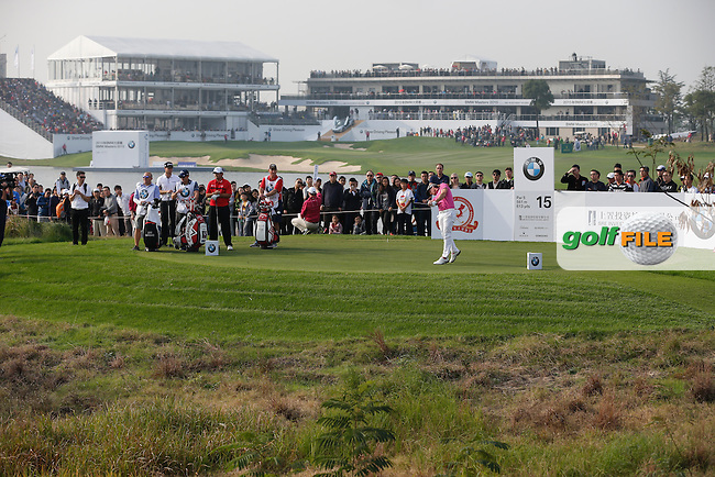 Kristoffer Broberg (SWE) on the 15th during the final round of the BMW Masters, Lake Malarian Golf Club, Boshan, Shanghai, China.  15/11/2015.<br /> Picture: Golffile | Fran Caffrey<br /> <br /> <br /> All photo usage must carry mandatory copyright credit (&copy; Golffile | Fran Caffrey)