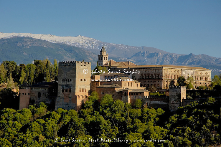 View of the Alhambra Palace from the Plaza of St. Nicholas, Granada, Andalusia, Spain.