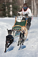 Megan Tuttle drives a 4 dog team in the 2009 Limited North American sprint sled dog race, Fairbanks, Alaska.
