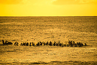 North Shore, Oahu, HAWAII - (Dec. 4, 2015) -  The traditional Hawaiian opening ceremony for the 31st annual Quiksilver In Memory of Eddie Aikau took place late yesterday as the sun set on Waimea Bay, Hawaii. It was an emotional gathering of big wave legends, rising stars of contemporary big wave surfing, the Aikau family, and surfing's expanded circle of friends and fans.  <br /> <br /> Eddie Aikau's younger brother Clyde set the tone for this year's event when he announced it would be his final year of taking to the hallowed lineup that he has ridden since first lifeguarding the Bay and riding giant waves with his big brother more than 40 years ago. Today, at 66, he describes himself as &quot;the oldest, most serious big wave rider on the planet&quot;. He has surfed in every Eddie Aikau event held since its inception in 1985, and won the 1989/90 event.   Photo: joliphotos.com