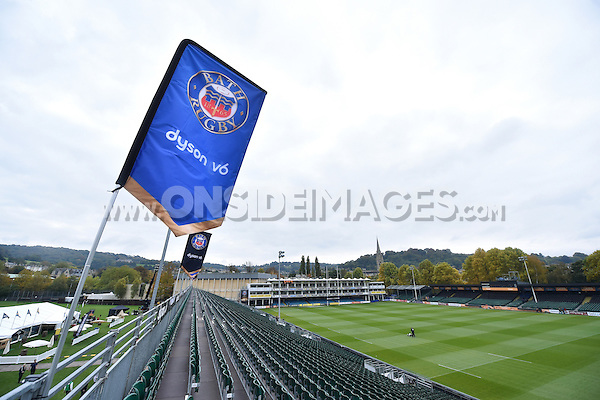 A general view of the Dyson stand of the Recreation Ground. Aviva Premiership match, between Bath Rugby and Exeter Chiefs on October 17, 2015 at the Recreation Ground in Bath, England. Photo by: Patrick Khachfe / Onside Images