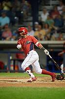 Williamsport Crosscutters second baseman Brayan Gonzalez (2) hits a double during a game against the Mahoning Valley Scrappers on August 28, 2018 at BB&T Ballpark in Williamsport, Pennsylvania.  Williamsport defeated Mahoning Valley 8-0.  (Mike Janes/Four Seam Images)