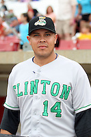 Clinton LumberKings skipper Eddie Menchaca (14) prior to a game against the Kane County Cougars at Elfstrom Stadium on June 17, 2011 in Geneva, Illinois.  Kane County defeated Clinton 1-0.  (Chris Proctor/Four Seam Images)