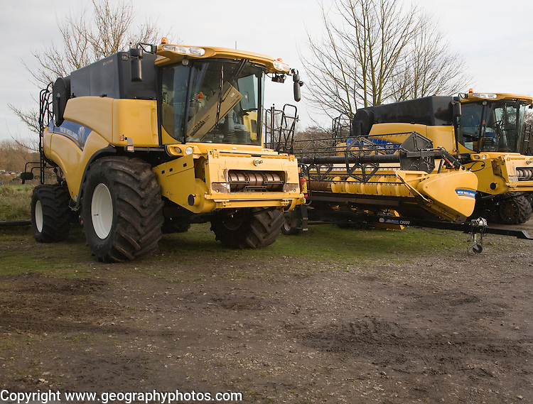 New Holland CR range combine harvester machines, Suffolk, England