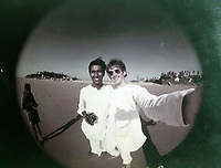 BNPS.co.uk (01202 558833)<br /> Pic: Omega/BNPS<br /> <br /> Selfie - George on a beach near Goa.<br /> <br /> Never before seen photographs of George Harrison's spiritual trip to India that influenced the rest of The Beatles to later visit have been unearthed over 50 years later.<br /> <br /> The late Beatle found the 1966 pilgrimage to the sub-continent liberating and persuaded the rest of the band to go back with him 18 months later.<br /> <br /> Their famous visit and stay with the Maharishi Mahesh Yogi's yoga retreat had a significant influence in the music the Fab Four went on to  produce.<br /> <br /> The six colour faded photos show George with his wife Patti Boyd with sitar player Ravi Shankar and friends sitting among ancient ruins and a selfie of him on a beach.<br /> <br /> Being sold alongside the snaps is a quilted orange jacket that George wore in India and left behind in 1967.