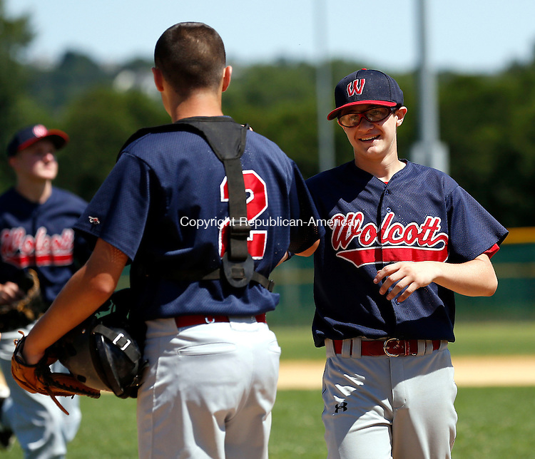 Waterbury, CT- 16 July 2015-071615CM05- Wolcott's Ethan Gillotti, right, and catcher Ricky Burdick congratulate one another after defeating Hoboken (New Jersey) during their Sandy Koufax North Atlantic Regional baseball game at Municipal Stadium in Waterbury on Thursday.    Christopher Massa Republican-American