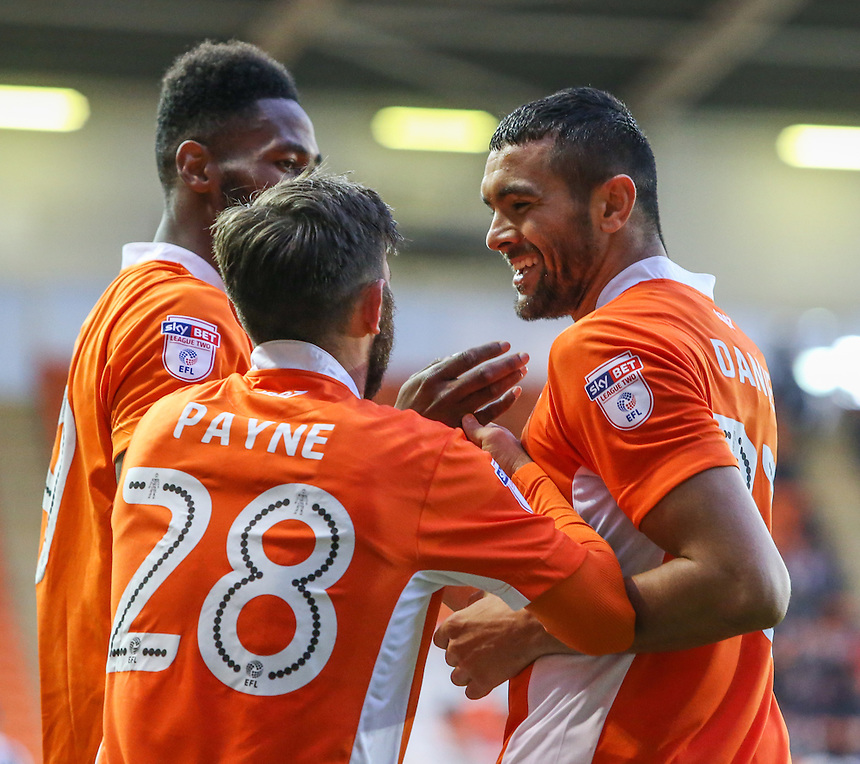 Blackpool's Colin Daniel, right, celebrates scoring his sides second goal with teammates<br /> <br /> Photographer Alex Dodd/CameraSport<br /> <br /> The EFL Sky Bet League Two - Blackpool v Notts County - Saturday 12th November 2016 - Bloomfield Road - Blackpool<br /> <br /> World Copyright &copy; 2016 CameraSport. All rights reserved. 43 Linden Ave. Countesthorpe. Leicester. England. LE8 5PG - Tel: +44 (0) 116 277 4147 - admin@camerasport.com - www.camerasport.com