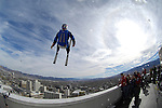 Miles Daisher launches over the rail of the Silver Legacy during an urban Ski-BASE jump off the roof of the Silver Legacy hotel casino in downtown Reno, Nev., Saturday Nov. 17, 2007. The stunt was to promote the local premier of the 2007 Warren Miller ski movie Playground and to raise money for the Make-a-Wish foundation, which helps make wishes come true for seriously ill children.