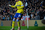 Home supporters watching on as a visiting player takes a corner kick during the second-half as West Bromwich Albion take on Leeds United in a SkyBet Championship fixture at the Hawthorns. Formed in 1878, the home team were relegated from the English Premier League the previous season and were aiming to close the gap on the visitors at the top of the table. Albion won the match 4-1 watched by a near-capacity crowd of 25,661.