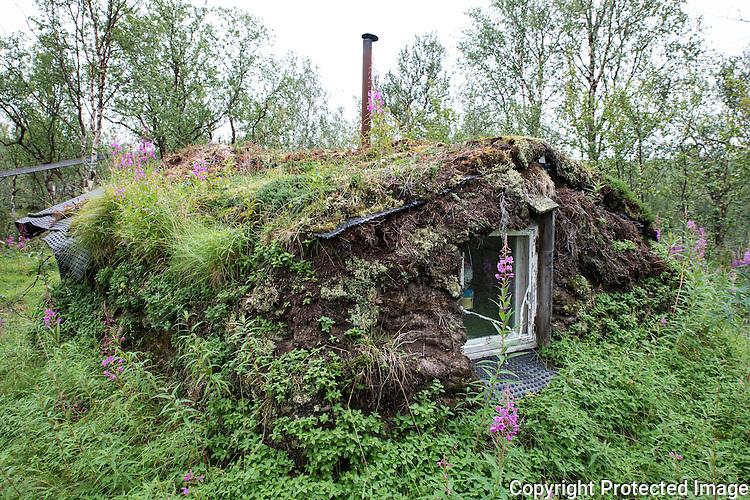 Gamme i bjørkeskog i Gallok. ---- Small cabin.