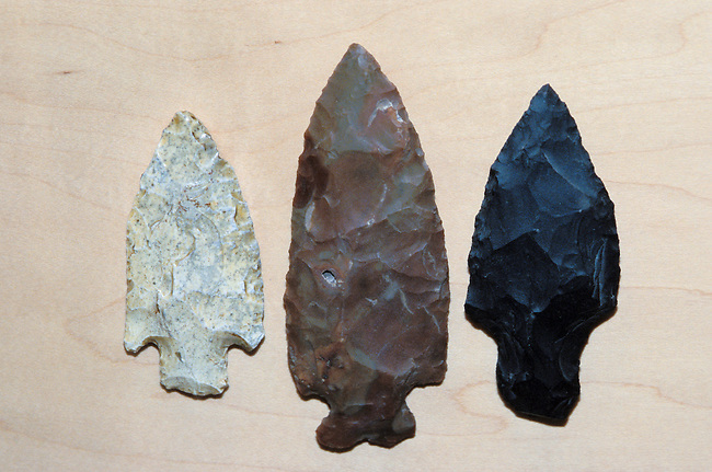A variety of stone arrowheads made by the Paiute Indians of the Great Basin