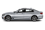 Car driver side profile view of a 2018 BMW 5 Series 540i Sport Line 4 Door Sedan