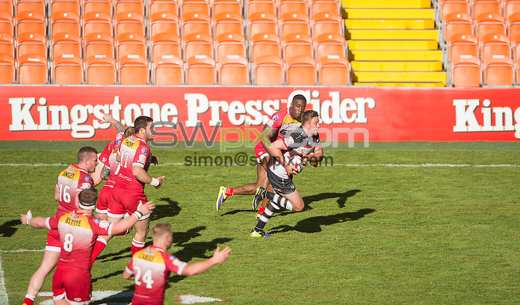 Picture by Allan McKenzie/SWpix.com - 23/05/2015 - Rugby League - Kingstone Press Championship Summer Bash - London Broncos v Sheffield Eagles - Bloomfield Road, Blackpool, England - Kingstone Press, branding.