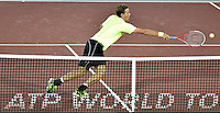 BOGOTÁ -COLOMBIA. 16-07-2013. Vasek Pospisil (CAN) durante partido en contra de  Michal Przysiezny (POL) de la primera ronda en el marco del ATP Claro Open Colombia 2013 en el centro de Alto Rendimiento en la ciudad de Bogotá./ Vasek Pospisil (CAN) during match against Michal Przysiezny (POL) in first round on the ATP Claro at Centro Alto Rendimiento in Bogota city. Photo: VizzorImage / Str