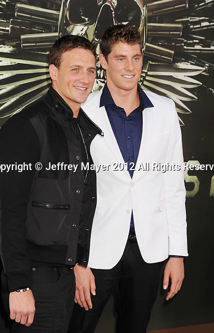 HOLLYWOOD, CA - AUGUST 15: Ryan Lochte and Conor Dwyer arrive at the 'The Expendables 2' - Los Angeles Premiere at Grauman's Chinese Theatre on August 15, 2012 in Hollywood, California.