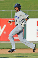 Pensacola Blue Wahoos shortstop Billy Hamilton #4 runs to second during  game one of a double header against the  Tennessee Smokies at Smokies Park on July 30, 2012 in Kodak, Tennessee. The Smokies defeated the Blue Wahoos 6-3 in game one and 3-2 in game two. (Tony Farlow/Four Seam Images).
