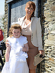 Amy Everitt who received first holy communion in St Michael's church Clogherhead pictured with mam Annmarie. Photo:Colin Bell/pressphotos.ie