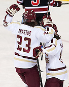 Andie Anastos (BC - 23), Haley McLean (BC - 13) - The Boston College Eagles defeated the Northeastern University Huskies 3-0 on Tuesday, February 11, 2014, to win the 2014 Beanpot championship at Kelley Rink in Conte Forum in Chestnut Hill, Massachusetts.