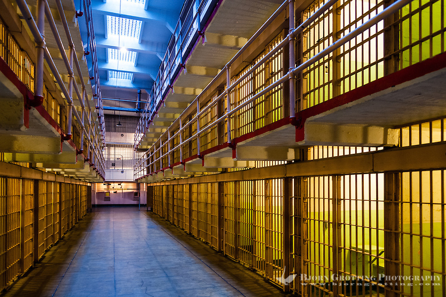 United States, California, San Francisco. Alcatraz. Inside the federal prison, prison cells.