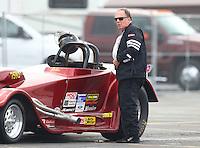 Feb 11, 2017; Pomona, CA, USA; NHRA super gas driver John Parrino during the Winternationals at Auto Club Raceway at Pomona. Mandatory Credit: Mark J. Rebilas-USA TODAY Sports