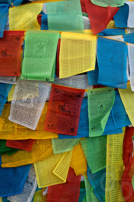 The four colors in Buddhism, Prayer flags Barkhor street, central area near Jokhang temple, Lhasa