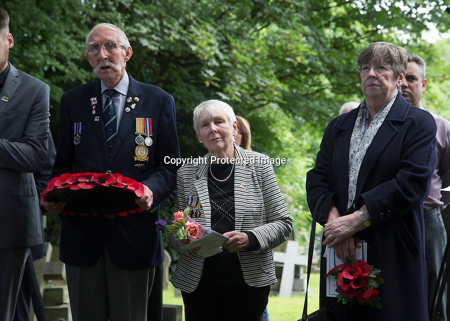 "11/06/16<br /> <br /> L/R: Stanley Shaw (cousin), Dorris Innes, (niece) and Sandra Palmer (cousin).<br /> <br /> One hundred years have passed since Private Charles Gordon Shaw was fatally wounded in the Battle of the Somme, but today is the first day his family have been able to grieve at his graveside.<br /> <br /> Full Story: https://fstoppressblog.wordpress.com/private_charles_shaw/<br /> <br /> <br /> That's because his grave was ""lost"" during a changeover in church vicars and when the Commonwealth War Graves Commission tried to place a headstone on his plot in 1926, the new vicar was unable to tell them where the body was buried.<br /> <br /> But today, thanks to detective work by his  niece, 83-year-old Dorris Innes from Spondon, together with an amateur historian who located the 'lost' grave, Private Shaw's family were finally able to pay their respects to the war hero, with a commemorative service at his grave, exactly 100 years to the day since he was buried at Christ Church in Stonegravels, Chesterfield.<br /> <br /> All Rights Reserved, F Stop Press Ltd."