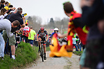 Part of the breakaway group Sven Erik Bystrom (SWE) UAE Team Emirates on the pave during the 116th edition of Paris-Roubaix 2018. 8th April 2018.<br /> Picture: ASO/Pauline Ballet | Cyclefile<br /> <br /> <br /> All photos usage must carry mandatory copyright credit (&copy; Cyclefile | ASO/Pauline Ballet)