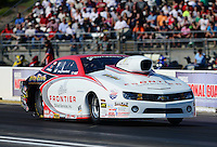 May 18, 2012; Topeka, KS, USA: NHRA pro stock driver Greg Stanfield during qualifying for the Summer Nationals at Heartland Park Topeka. Mandatory Credit: Mark J. Rebilas-