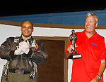 Buffalo Bills Rex Ryan (head coach NFL's Buffalo Bills) is presented an award by Black Angels' Over Tuskegee Melvin Huffnagle (home town is Buffalo). Melvin Huffnagle is a member of cast which performed a private performance for Buffalo Bills' head coach Rex Ryan and the team players on September 8, 2015 at Shea Performing Arts Center, Buffalo, New York. (Photo by Sue Coflin/Max Photos)
