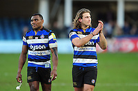 Semesa Rokoduguni and Max Clark of Bath Rugby. Aviva Premiership match, between Bath Rugby and Harlequins on February 18, 2017 at the Recreation Ground in Bath, England. Photo by: Patrick Khachfe / Onside Images