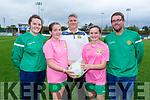 Under 13 Gaynor Cup team Management and captains, Mary Bates (Listowel Celtic), Lucy O'Sullivan (Captain), manager Stuart Etherington, Katie Doe (Vice Captain) and Alan O'Sullivan.