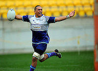Norths flanker Parekura Lalaga celebrates scoring the final try. Wellington club rugby Jubilee Cup final between Northern United and Poneke at Westpac Stadium, Wellington, New Zealand on Sunday, 15 August 2010. Photo: Dave Lintott/lintottphoto.co.nz