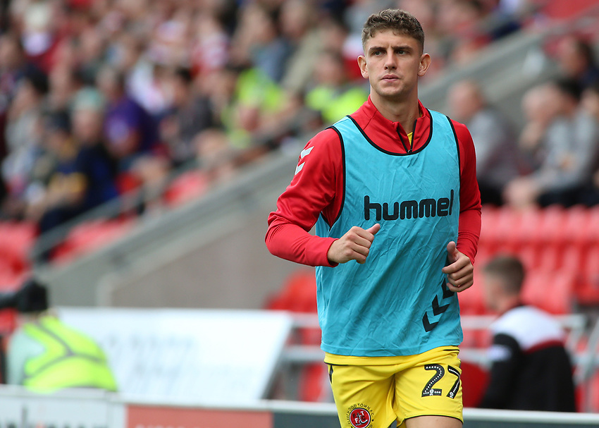 Fleetwood Town's Harrison Biggins warms up<br /> <br /> Photographer David Shipman/CameraSport<br /> <br /> The EFL Sky Bet League One - Doncaster Rovers v Fleetwood Town - Saturday 17th August 2019  - Keepmoat Stadium - Doncaster<br /> <br /> World Copyright © 2019 CameraSport. All rights reserved. 43 Linden Ave. Countesthorpe. Leicester. England. LE8 5PG - Tel: +44 (0) 116 277 4147 - admin@camerasport.com - www.camerasport.com