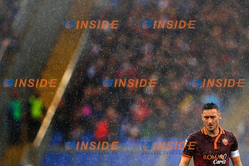 Francesco Totti Roma, Partita sospesa per pioggia. Match suspended <br /> Roma 02-02-2014 Stadio Olimpico - Football Calcio Serie A 2013/2014 AS Roma - Parma Foto Andrea Staccioli / Insidefoto