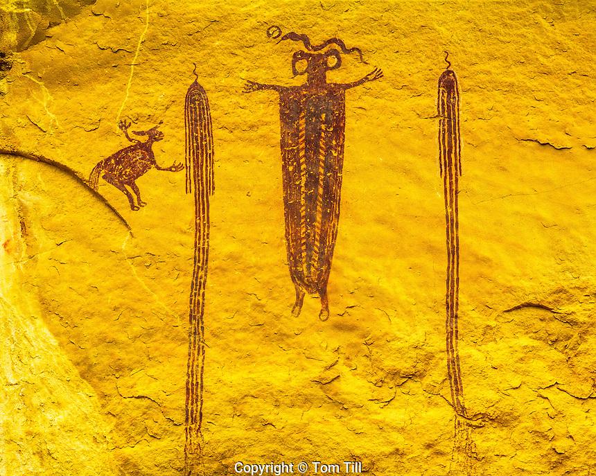 Pictographs, San Rafael Swell, Utah Ancient Native American rock art paintings