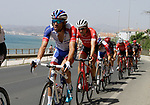 The peloton including Thibaut Pinot (FRA) Groupama-FDJ leave the coast after the start of Stage 4 of the La Vuelta 2018, running 162km from Velez-Malaga to Alfacar, Sierra de la Alfaguara, Andalucia, Spain. 28th August 2018.<br /> Picture: Colin Flockton | Cyclefile<br /> <br /> <br /> All photos usage must carry mandatory copyright credit (&copy; Cyclefile | Colin Flockton)