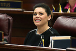 Nevada Assemblywoman Teresa Benitez Thompson, D-Reno, watches votes tally on the big screen on the Assembly floor at the Legislative Building in Carson City, Nev., on Tuesday, March 3, 2015. <br /> Photo by Cathleen Allison