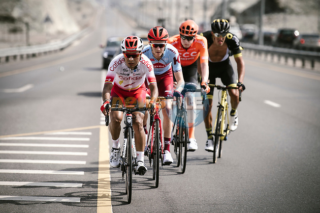 The breakaway group Darwin Atapuma (COL) Cofidis, Ian Boswell (USA) Katusha Alpecin, Nathan Van Hooydonck (BEL) CCC Team and Damian Gaudin (FRA) Direct Energie, in action during Stage 4 of 10th Tour of Oman 2019, running 131km from Yiti (Al Sifah) to Oman Convention and Exhibition Centre, Oman. 19th February 2019.<br /> Picture: ASO/P. Ballet | Cyclefile<br /> All photos usage must carry mandatory copyright credit (© Cyclefile | ASO/P. Ballet)